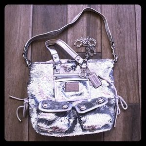 Coach Poppy Silver Sequins